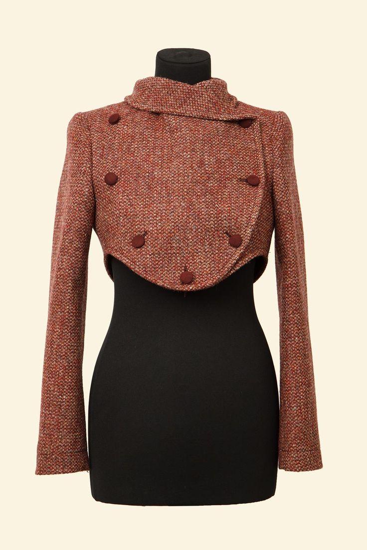 Lola jacket: red barley corn harris tweed.