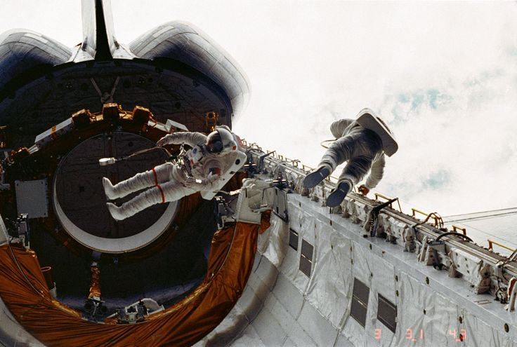 Spacewalk During Maiden Voyage of Shuttle Challenger
