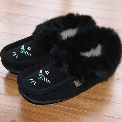 Black Fleece Lined Ladies Moccasin Slippers with Real Rabbit Fur Trim - 12653