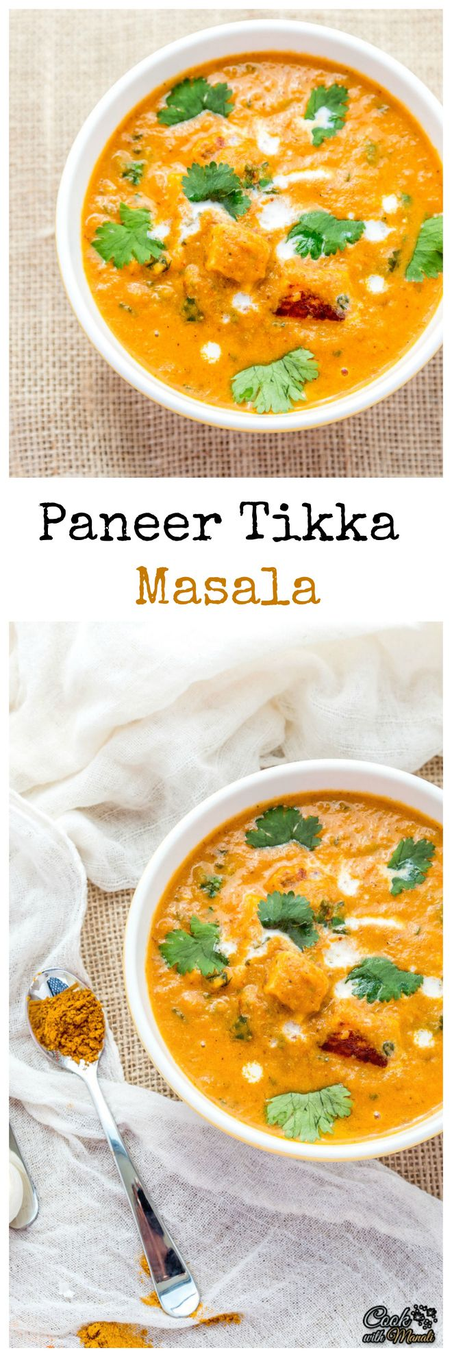 The popular Indian Paneer Tikka (spiced Indian cottage cheese) in Onion and Tomato based Curry. Goes well with Naan or Rice!