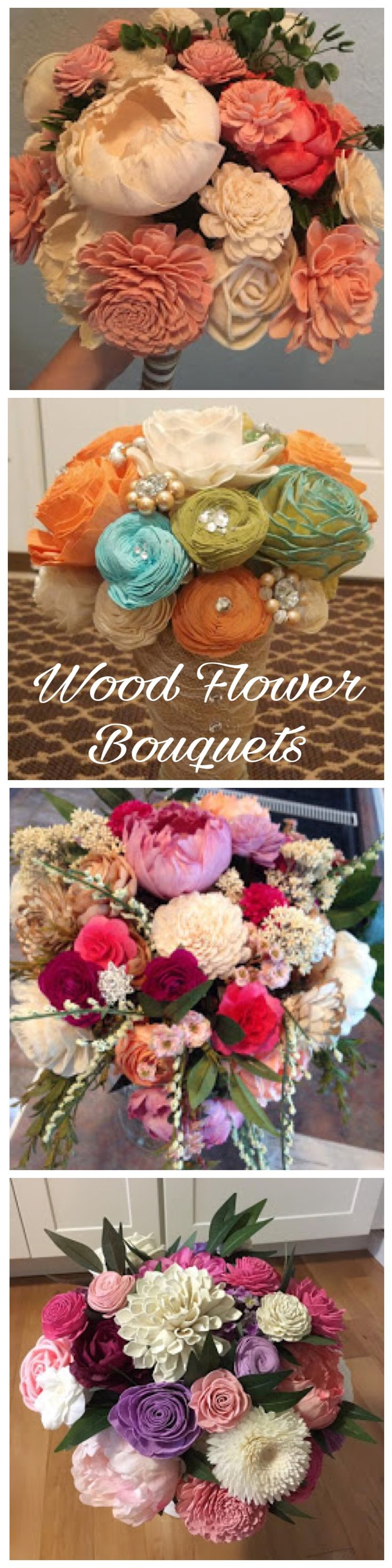 Create you're wedding bouquet using sola wood flowers. Pick your colors or dye them yourself. Great for the DIY bride #woodflowers #diybride #diywedding