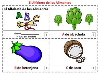 Spanish Alphabet of Food 2 Emergent Reader Booklets / Alfabeto de Alimentos - one with text and images, one with text only so students can sketch their own version of the booklet.