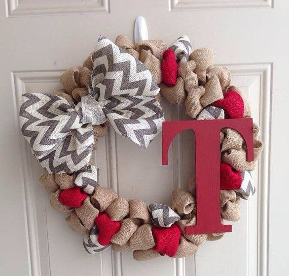 Burlap Wreath with Gray Chevron Ribbon & Solid color Monogram on Etsy, $43.00
