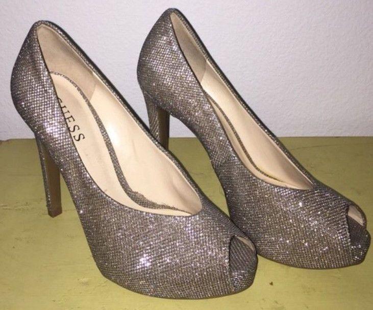 Glitter Guess peep toe heels. Size 7. | eBay!