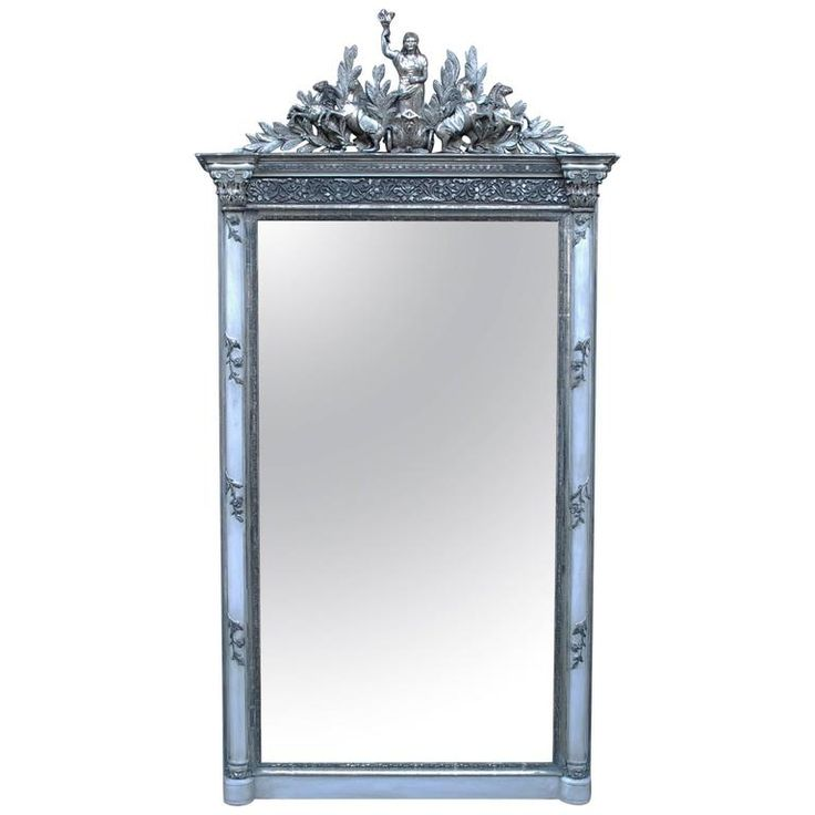 19th Century Louis Seize Mirror | See more antique and modern Mantel Mirrors and Fireplace Mirrors at https://www.1stdibs.com/furniture/mirrors/mantel-mirrors-fireplace-mirrors