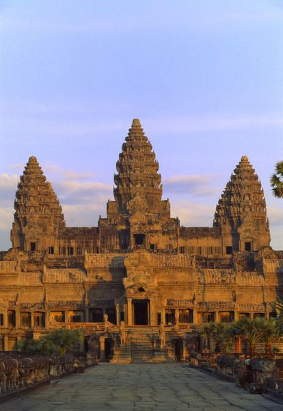 Angkor Wat. Built in 1150 in Siem Reap, Cambodia. The site measures 5100 X 4600 ft (1150 X 1400 m). It took 30 years to finish it.