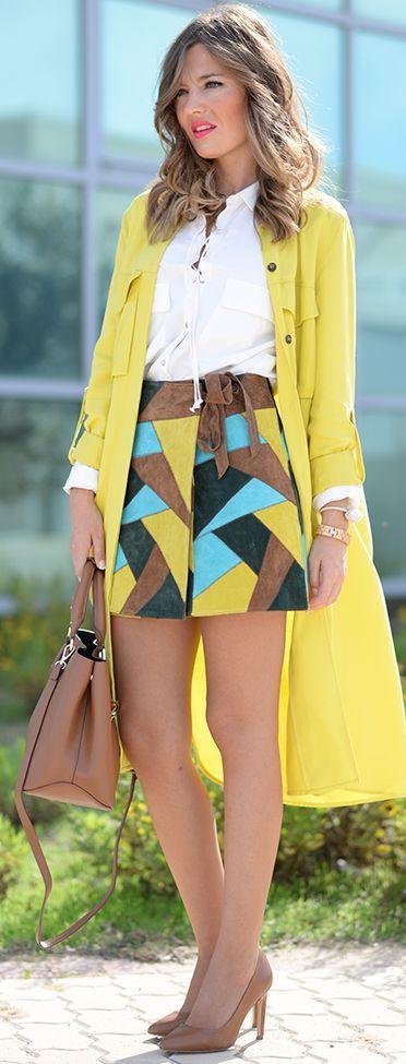 Patchwork Suede Skirt Fall Streetstyle Inspo by Mi Aventura Con La Moda