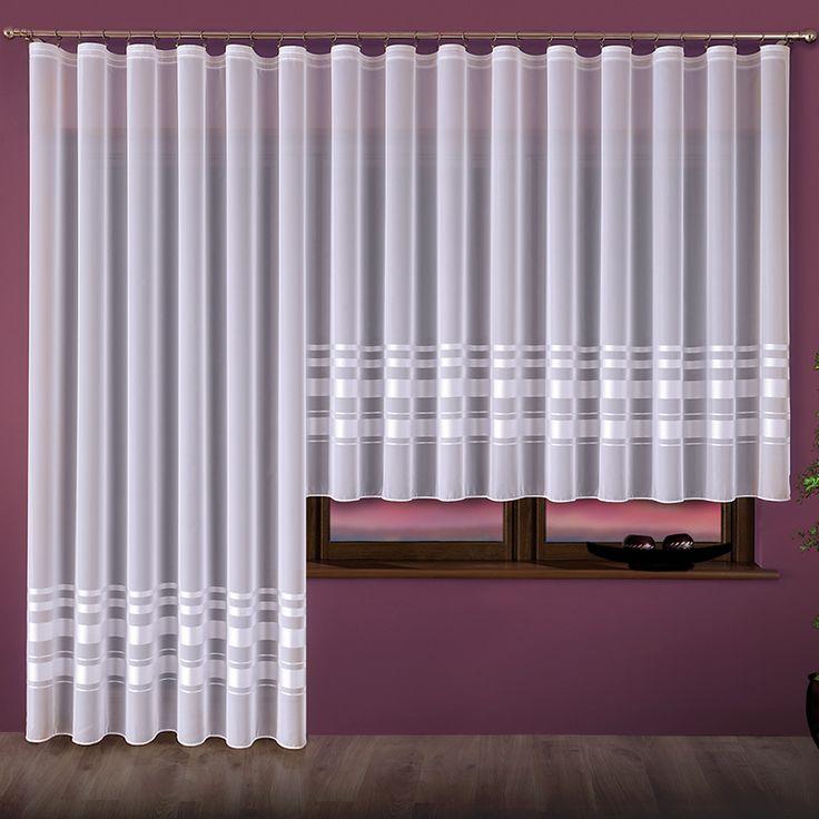 Komplet balkonowy woalowy - 000762 kol. biały - 250x500 cm (160x300cm + 250x200 cm )