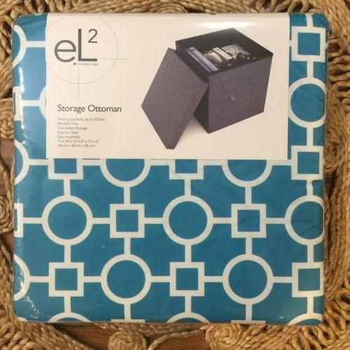 """Storage Ottoman 15""""x15""""x15"""" 250 lb Seating Capacity Turquoise And White Abstract"""