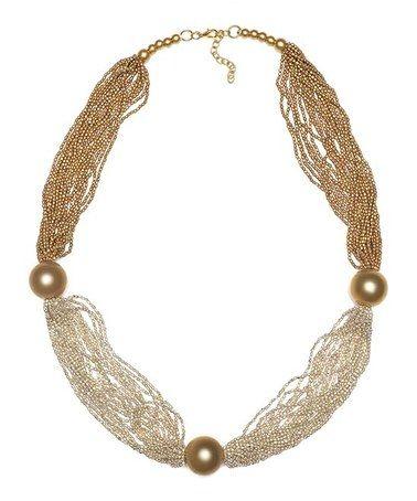 Look at this #zulilyfind! Gold Station Multi-Strand Necklace #zulilyfinds