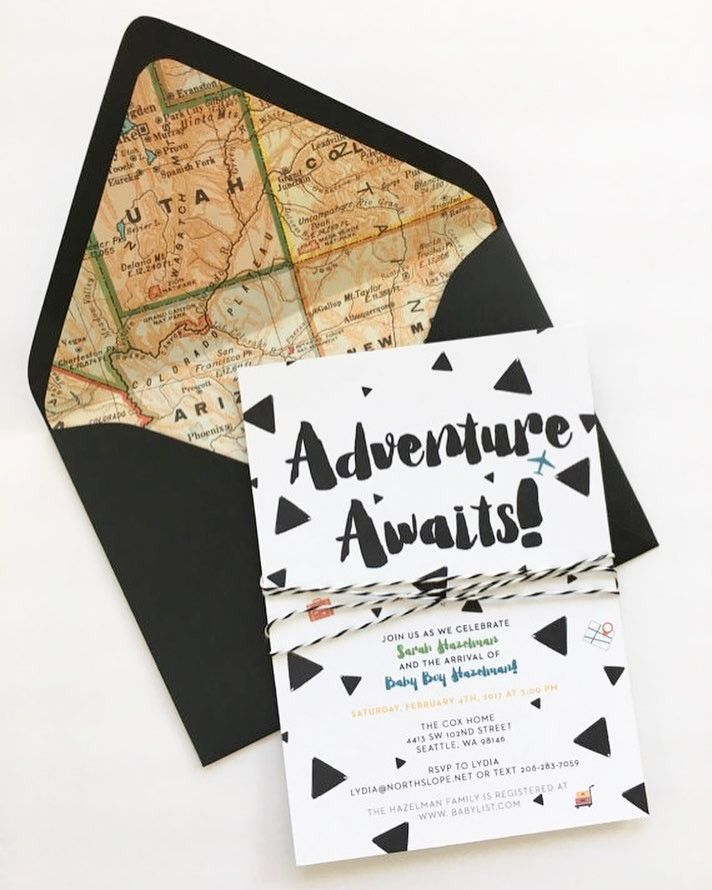 baby shower invitation for twins%0A Adventure   Travel Themed Black and White Baby Shower Invitations    Songbird Paperie