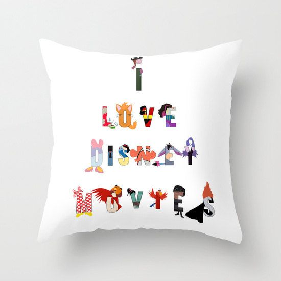 i love disney movie illustration funny character names. throw pillow with insert by studiomarshallgifts on Etsy