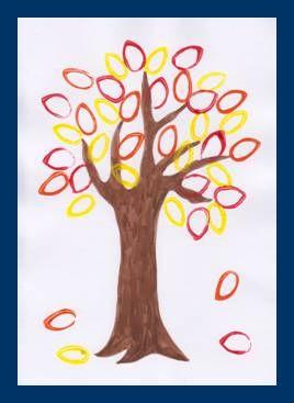Podzimní strom s tištěnými listy