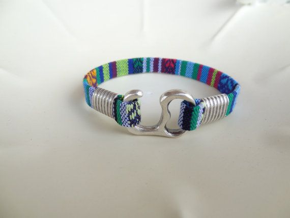 Colorful Cotton Bracelet Boho Bracelet Hook by sevinchjewelry