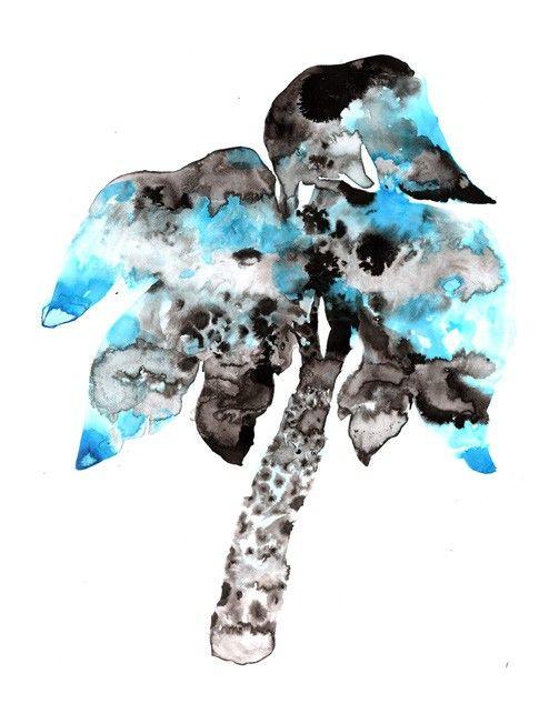"""Palm #4"", 3000 SEK ($350), 46x65 cm, original, ink  http://www.arrivals.se/product/palm-4  #palm #blue #beachstyle #feelin'"