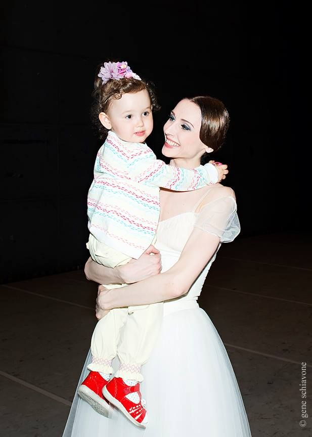 Svetlana Zakharova with her daughter backstage after Giselle in Prague