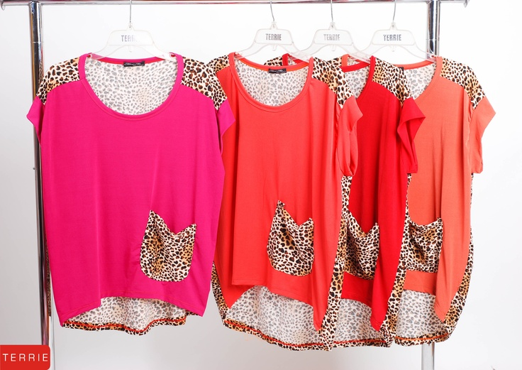 TERRIE WOMAN: BLOUSE WITH TIGER PRINT  CODE NAME: MINI ME  COLOR: PINK, ORANGE, RED, YELLOW & RED ORANGE  SIZE: FREE SIZE  PHP 560    www.terrieonline.com