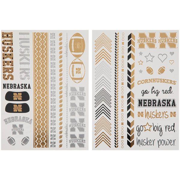 Nebraska Cornhuskers chicka-d Women's Metallic Spirit Tattoo Sheet - $9.99