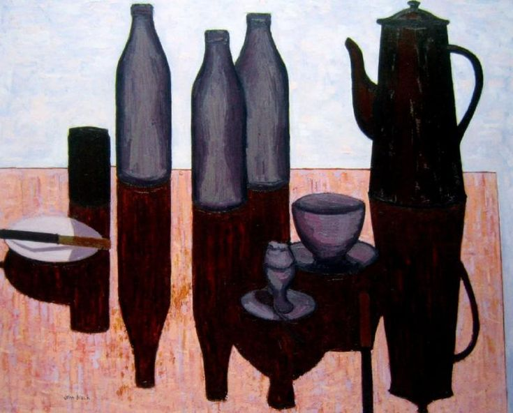 John Brack - Breakfast still life - oil on board, 59 x 72.5 cm.