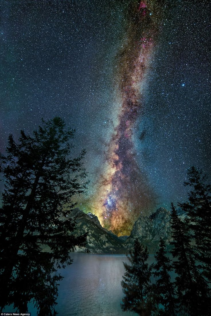 The iridescent beauty of the Milky Way is reflected in Jenney Lake in a spectacular photo taken at Yellowstone National Park.