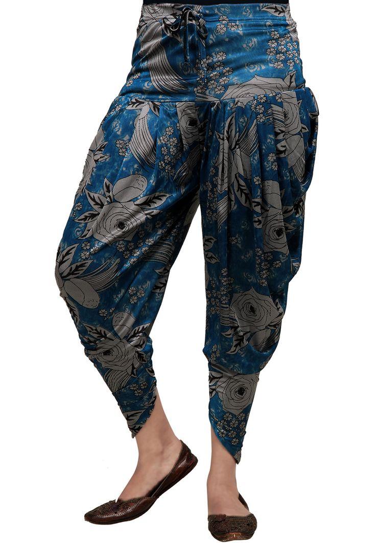 Dark Blue Lycra Readymade Dhoti Pant Online Shopping: BKJ79