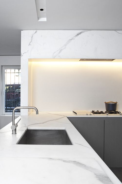 Modern marble. love the marble and square sink