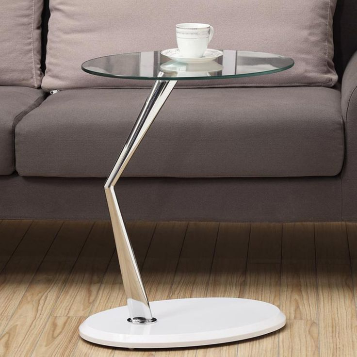 Monarch I 3048 Metal Accent Table with Tempered Glass - Glossy White / Chrome - I 3048