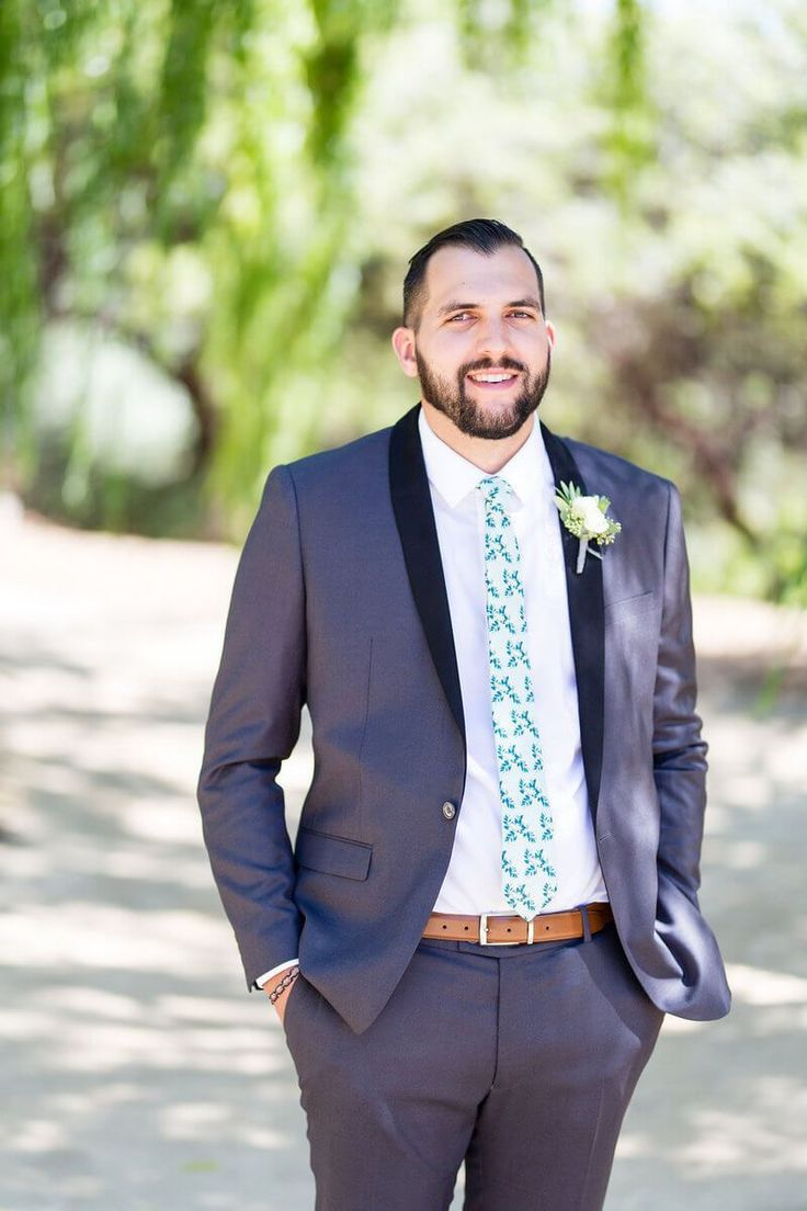 Tuscan Inspired Wedding - Groom with fun contemporary tie