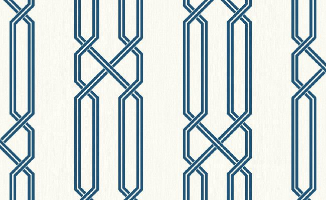 Sample Geometric Wallpaper in Blue and Ivory design by Seabrook Wallcoverings