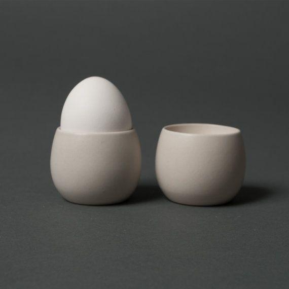 vintage egg cups soholm beige mid century danish stoneware retro pottery white on Etsy, $79.00