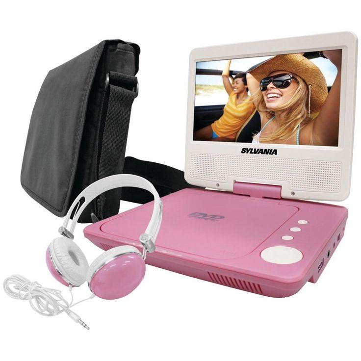 SYLVANIA SDVD7060-COMBO-PINK 7 Swivel-Screen Portable DVD Player Bundle (Pink)