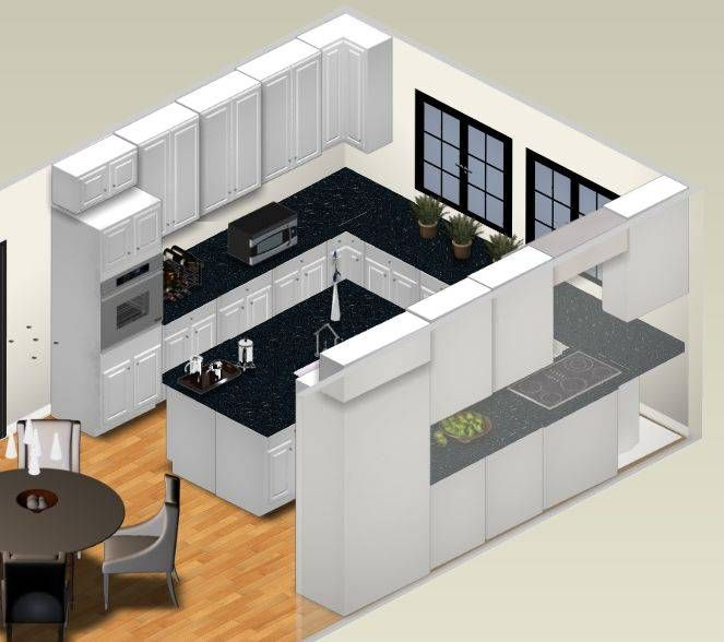 Off White L Shaped Kitchen Design With Island: 3d Sketch, Small Kitchens And Islands