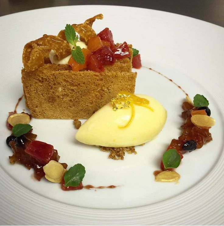 ... diplomat, dried fruit compote, almond nougatine, and winter citrus