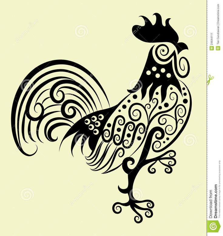 tribal chinese rooster tattoo   Animal motif and floral decorative ornament for textile and tattoo ...