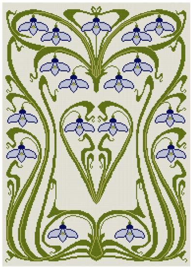 Art Nouveau Snow Drop Cross stitch pattern PDF от Whoopicat
