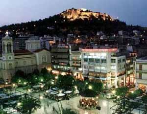 Τhe Kastro in the background, the Mitropolis to the left.  Μητροπολις και Καστρο, Λαμια, Φθιοτης, Ελλαδα.