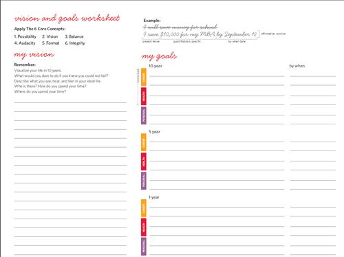 lululemon's goal setting worksheet