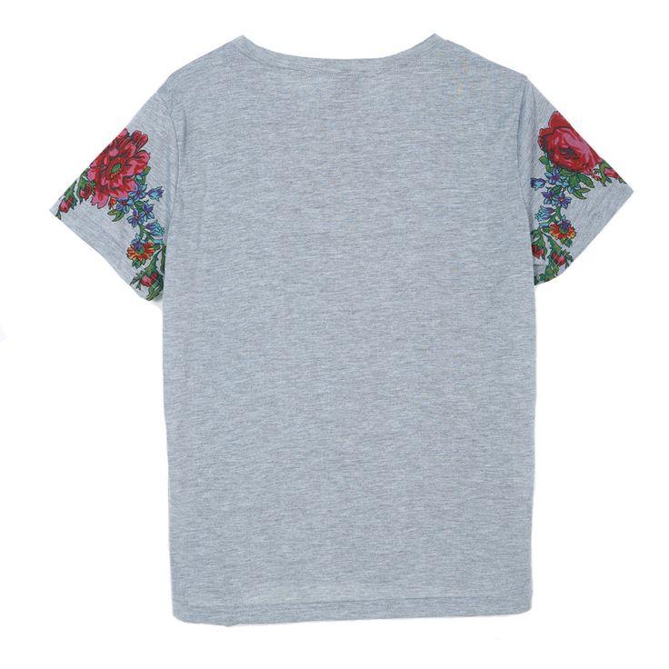 Женщины кисточкой цветочный принт майка винтаж красная роза тис O шею с коротким рукавом рубашки blusa feminina вскользь тонкие бренд топы DT42 купить на AliExpress
