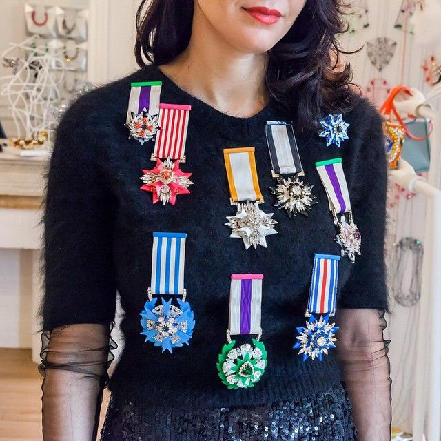 It's a win-win situation. @Shourouk decked out in imperial medals from her Napoleon inspired collection. Link in bio!