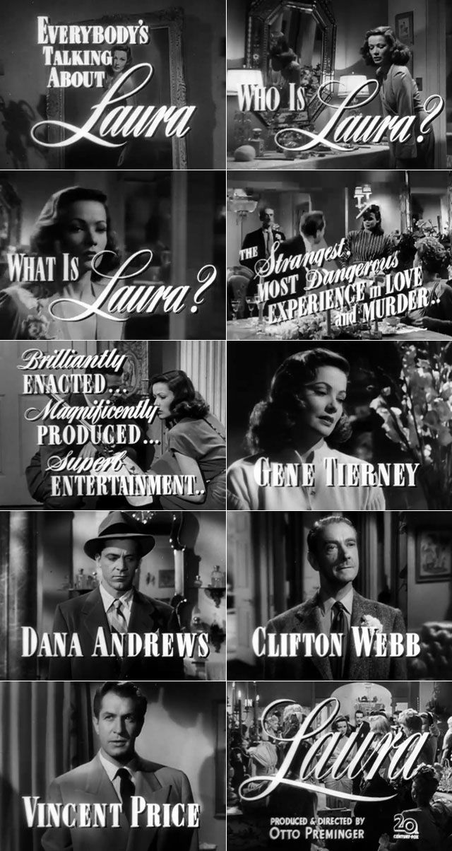 """In my case, self-absorption is completely justified. I have never discovered any other subject quite so worthy of my attention.""  - Waldo Lydecker in Laura (1944)"