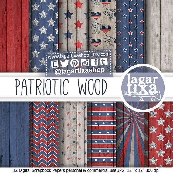 Wood Digital Paper Backgrounds America Independence Day 4th of