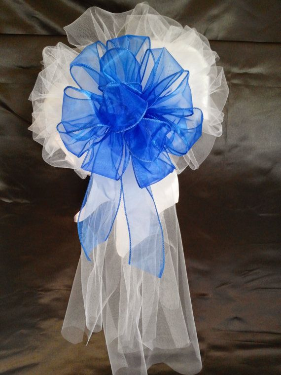 6 Large Royal Blue Sheer White Satin Ribbon Tulle by AsPrettyDoes, $60.00