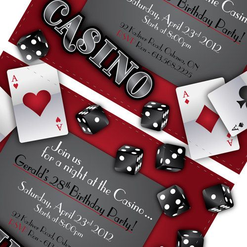 Casino Party Invitations Gamble Love . by BlackCherryPrintable