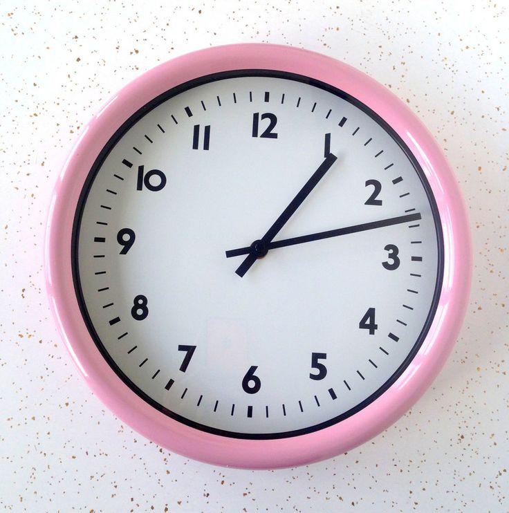 Vintage Pink Wall Clock Retro Mid Century Modern 1950's Style