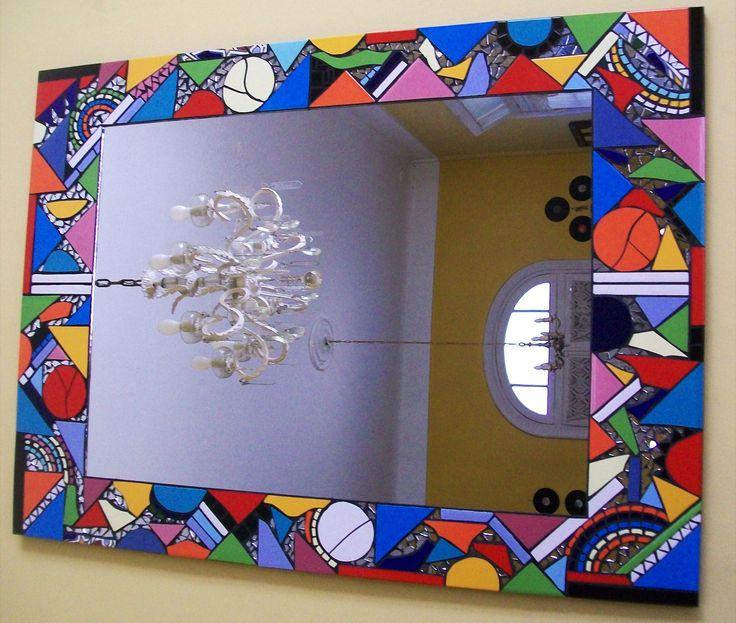 Espejo con mosaicos 70 x 96 espejos mosaiquismo http for Espejos ovalados para decorar