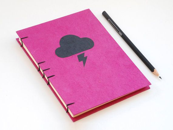 Cloud handmade coptic stitched notebook Fuchsia&Black by PiCKEE, €17.80 http://www.etsy.com/shop/PiCKEE