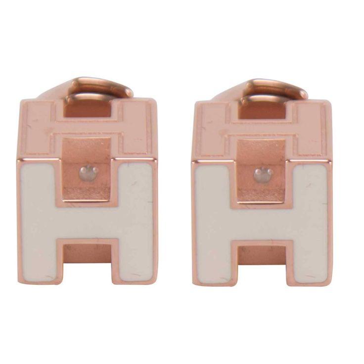 Hermes EARRINGS POP H PLAQUE WHITE ROSE GOLD LACQUER 2015