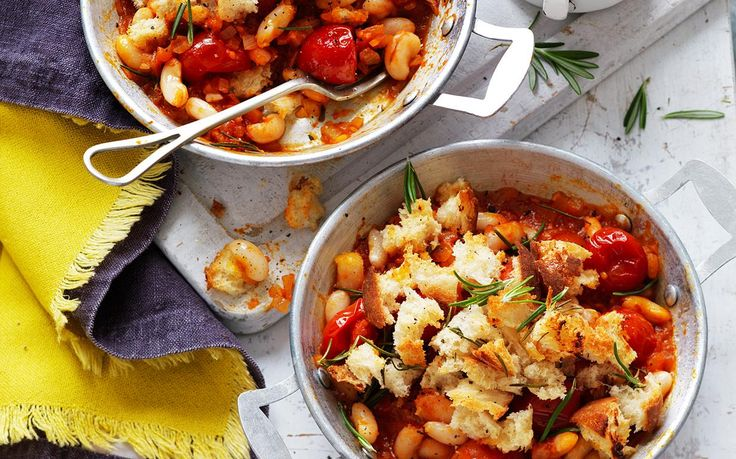Baked beans and tomato pots with rosemary sourdough crumble recipe - By Australian Women's Weekly, Wake up and smell this delicious breakfast! Baked beans and tomato pots with rosemary sourdough crumble - full of filling, healthy ingredients to kick start your day. This recipe is suitable for diabetics.
