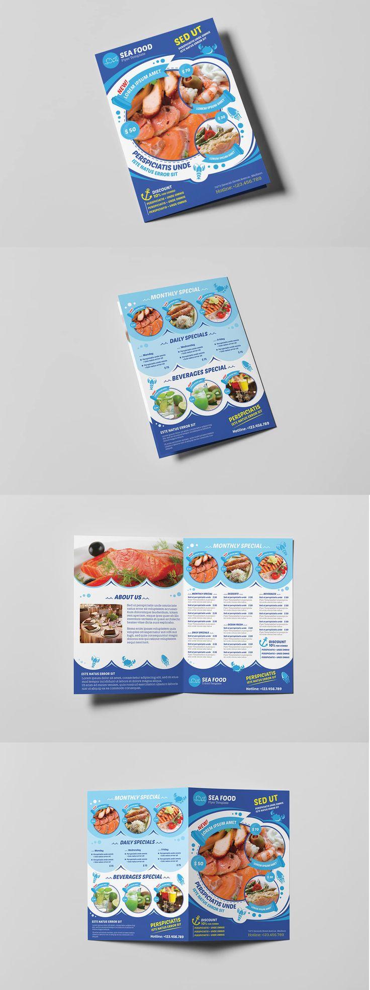 Seafood Restaurant A5 Brochure / Leaflet Template PSD
