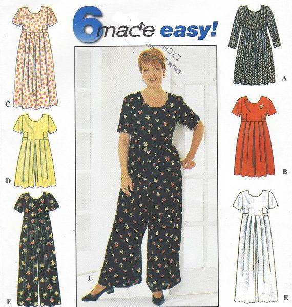 Plus Size Womens Dress Or Jumpsuit Empire Waist Simplicity